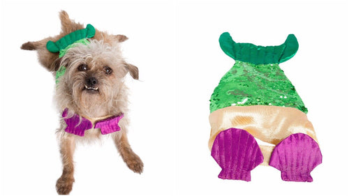 Mermaid Dog Costume With Reversible Squined Tail