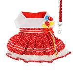 Load image into Gallery viewer, Red Polka Dot Balloon Designer Dog Dress with Matching Leash