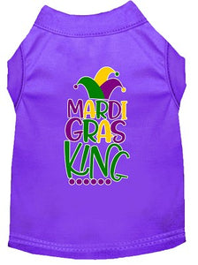 Mardi Gras King Screen Print Mardi Gras Dog Shirt Purple