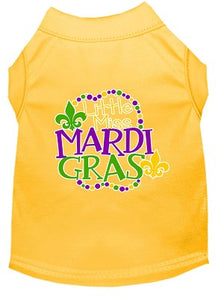 Miss Mardi Gras Screen Print Mardi Gras Dog Shirt Yellow