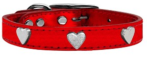 Silver Heart Widget Genuine Metallic Leather Dog Collar*.