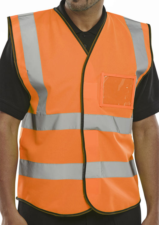 HI VIZ ID VEST EN20471 ORANGE | Cavan Safety Supplies