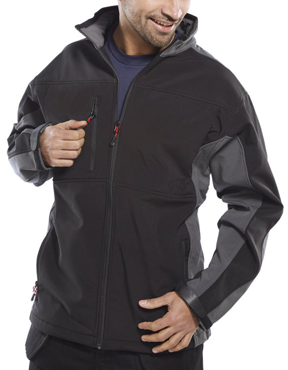 TWO TONE SOFT SHELL JACKET BLACK/GREY | Cavan Safety Supplies