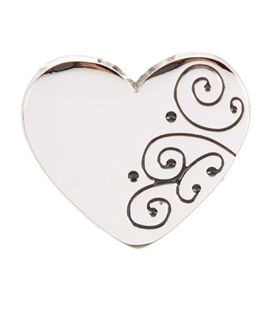 *Small Spaces* Silver Scroll Heart (SKU: 01A-318)