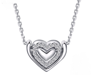 Double Heart Zirconia  Necklace
