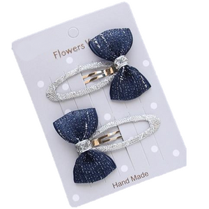 fancy navy blue silver bow hair clips for little girls