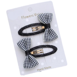 Black And White check Bow Hair Clips For little girls