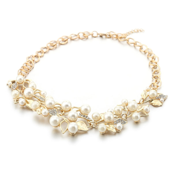 golden metal and pearl necklace, pearl statement necklace