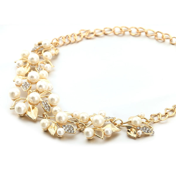 Simulated Pearl Golden Statement Necklace