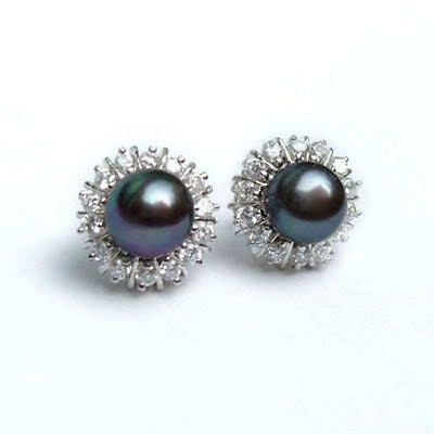 Black Natural Pearl with zircon stud Earrings