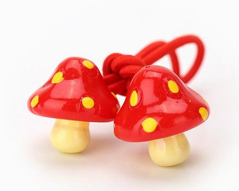 red and yellow cute mushroom hair bands