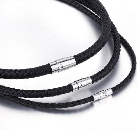 Black Braided Cord Rope Leather Necklace