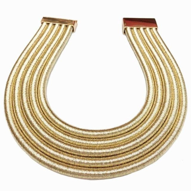 This multilayered chunky choker necklace is a style statement of 2019. It is vogue and trendy with sheer character and substance. The multilayers gives this a chunky look that stands out in choker necklaces. Perfect for party , engagement , prom , date , birthdays , christmas or wedding.