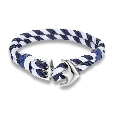 Navy Blue And White Anchor Charm Rope Bracelet