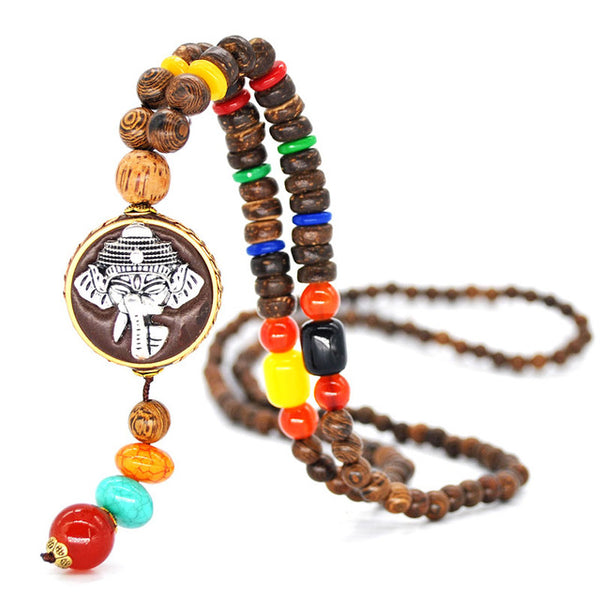 Buddhist Mala Wooden Beads Necklace
