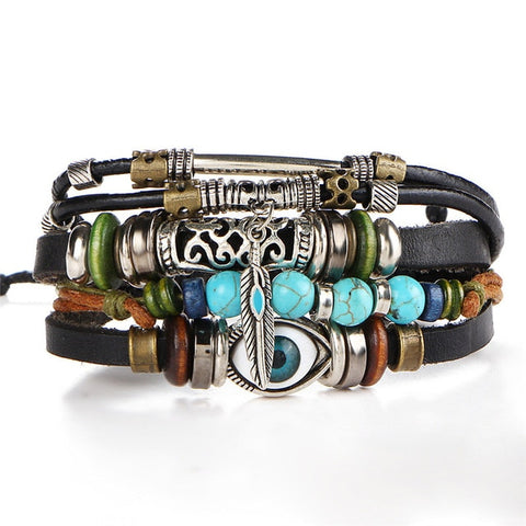 Boho Leather Wristband