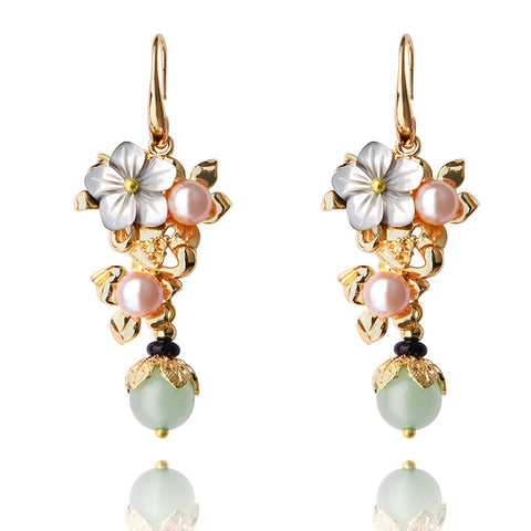 Pearl drop earrings , gold plated pearl earrings ,
