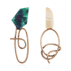 Geometric Resin gold Drop Earrings