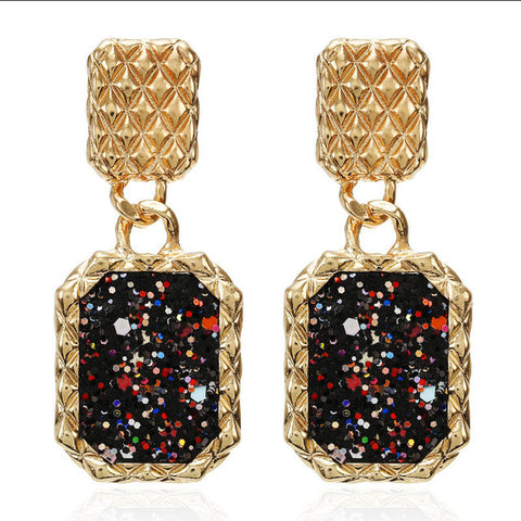Large Golden&Black Drop Earrings