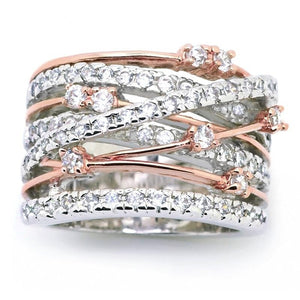 Sparkling  Crossover Two-tone Rose Gold & Pure Silver Ring