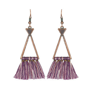 Play around this year with Tassel drop earrings. These triangle tassel drop earrings are exact symbol of latest trends in tassel earrings. Perfect for ethnic and boho look.