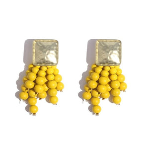 Square shaped with beads drop earrings.These are the 2019 latest trend with chunky beads style and funky colors. They are trendy with resin beads that suits your stylish look. Perfect for party , engagement , gift , birthday, dinner , date night.