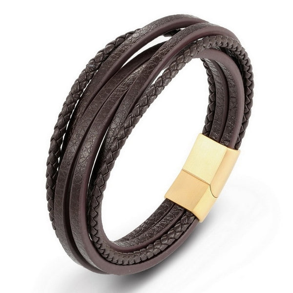 Sleek And Simple Genuine Leather Multilayer Bracelet