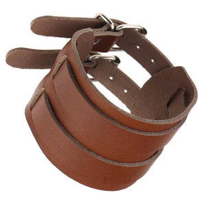 double strap buckle leather bracelet