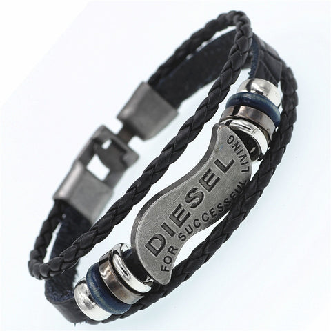 Diesel Brand label metal charm leather bracelet for men