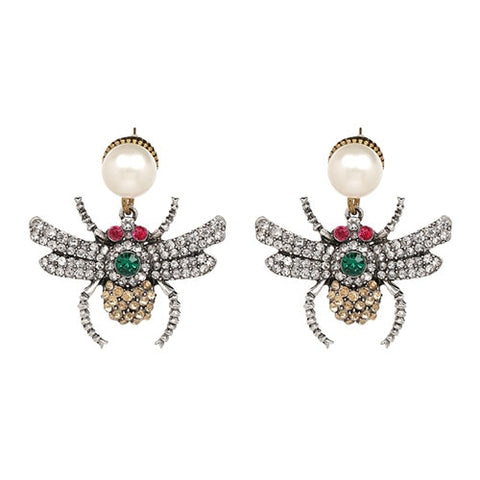 Pearl statement insect stud earrings
