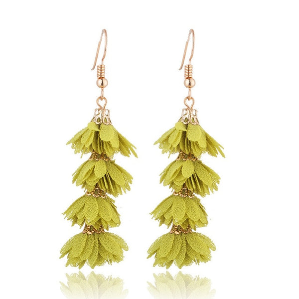 Flower jewellery is 2019 trend. These flower long drop earrings will add a fresh and colorful touch to your look. They are cute and trendy with beautiful vibrant colors. perfect for enagements , party , birthday, dinner or girls night out.