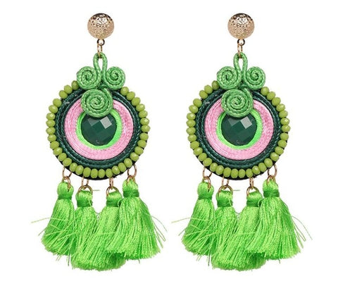 These Boho Style Ethnic Tassel beads earrings are hot in 2019 fashion trends. The tassel beads are new addition in tassel drop earrings. They are funky , colorful , ethnic and trendy drop earrings with shine of beads and little bling of metal.Perfect for party , picnic or girls night out.