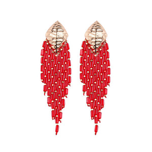 These Boho Style Ethnic Beaded Tassel earrings are hot in 2019 fsahion trends. The tassel beads are new addition in tassel drop earrings. They are funky , colorful , ethnic and trendy drop earrings with shine of beads and little bling of metal.Perfect for party , dinner , birthday , picnic or girls night out.