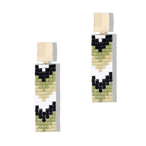 Resin square geometric drop earrings. The tiled pattern and beautiful color contrast makes these drop earrings best match for your formal or semi-formal look. True Style statement for 2019 trend. Perfect for party , birthday , prom , dinner , picnin , lunch and date.