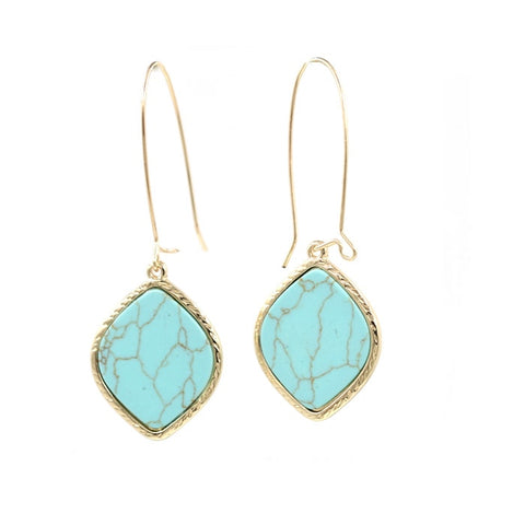 Faux Marble Stone Drop Earrings