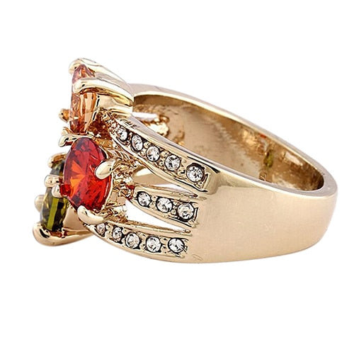 Cubic Zirconia Crystal  Gold-color Ring