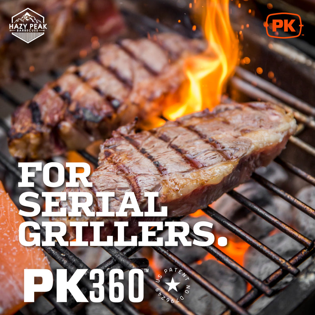 Photo of steak cooking on a PK Grill with the caption: For serial grillers.