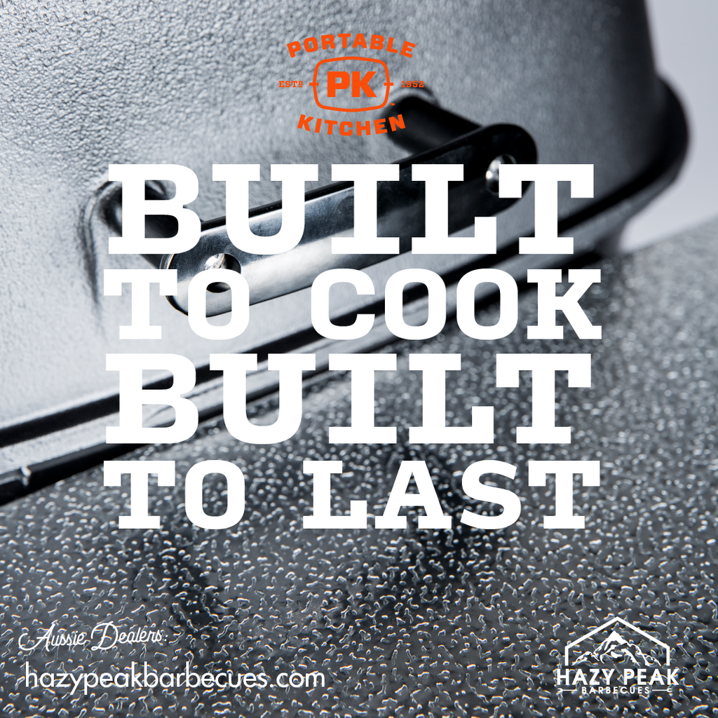 Original PK Grill in Silver with the caption Built to Cook, Built to Last