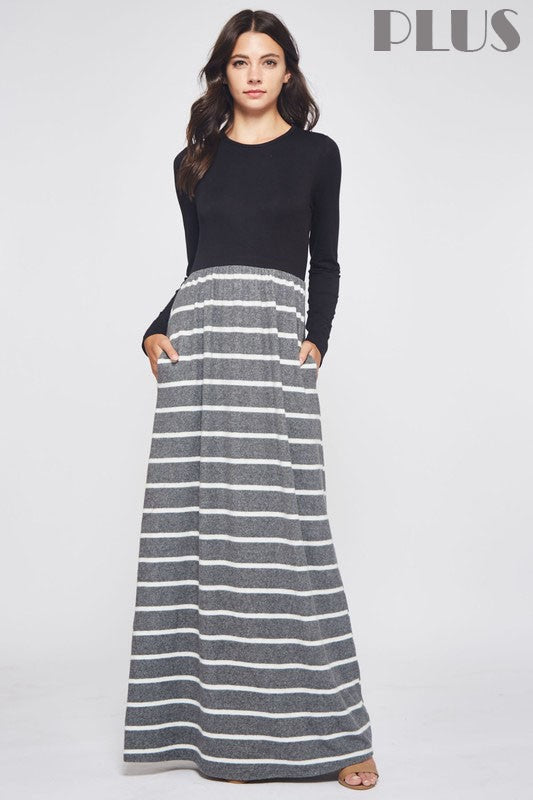 Stripe Contrast Maxi Dress
