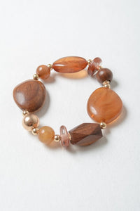 Rustic Wood and Stone Fashion Bracelet