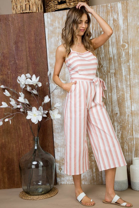 WAIST BELT WITH SIDE POCKET BACK BOW TIE JUMPSUIT