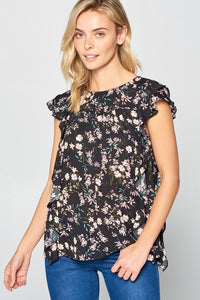 Cap Short Sleeve Floral Blouse