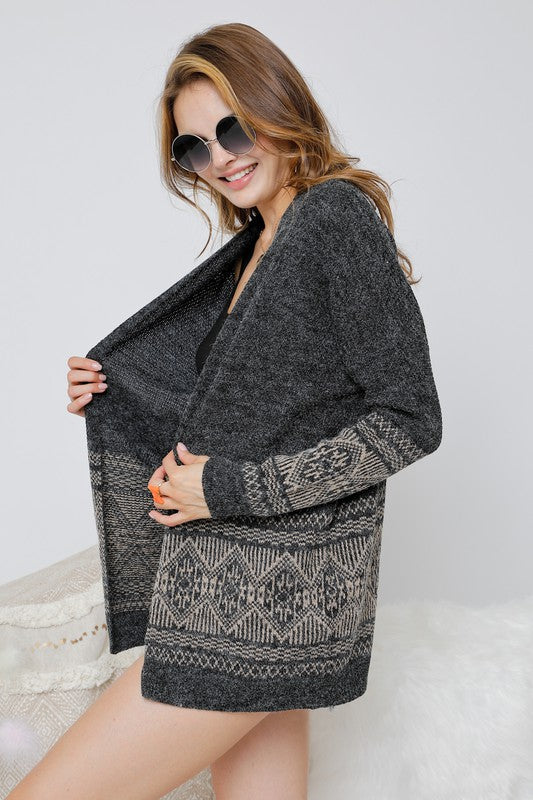 Aztec Print Knit Sweater Cardigan