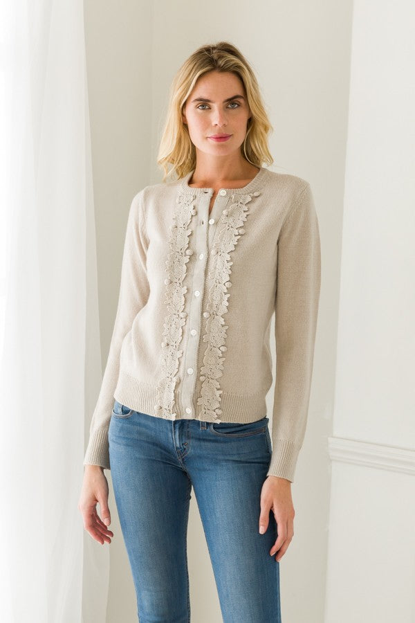 Embroidered button down cardigan