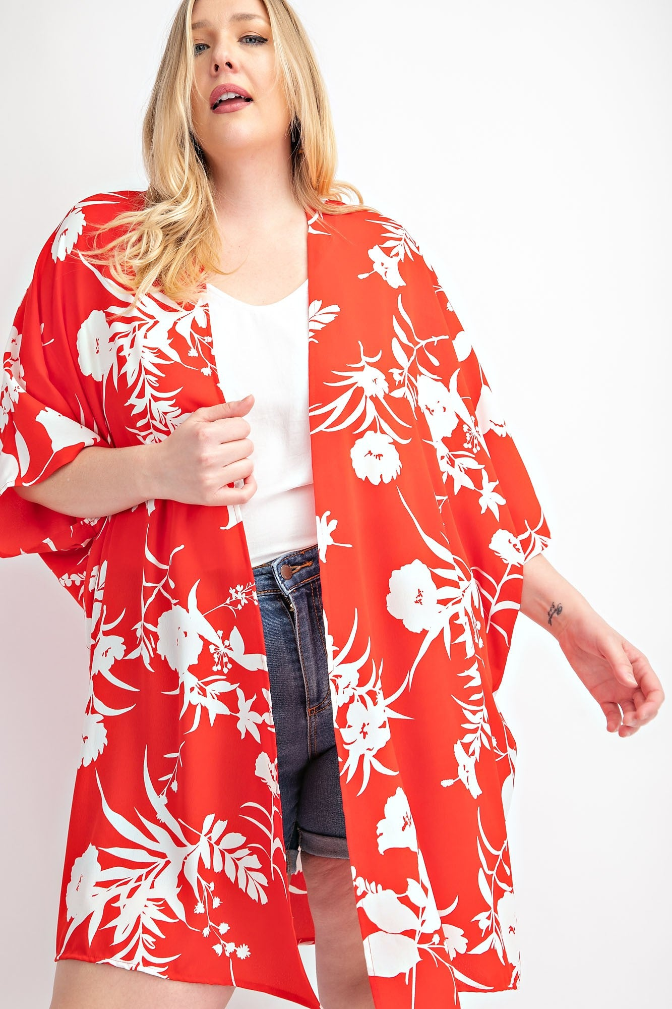 FLORAL PRINTED CARDIGAN, QUARTER SLEEVES