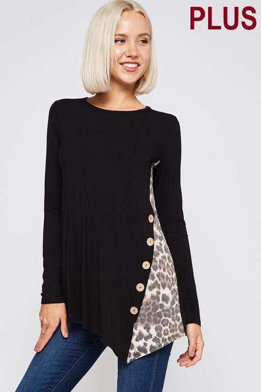 Solid rayon top with side seam leopard contrast