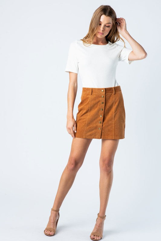 Corduroy Skirt with Button Down Front