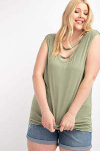 MUSCLE SHIRT CUT OUT ROUND NECK TOP