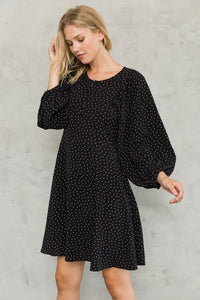 Balloon sleeves front button dress