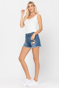 Mid-Rise Leopard Patch Shorts